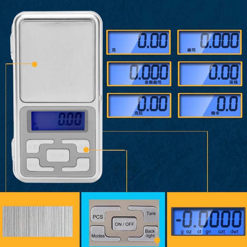 0,01 g Schmuckwaage Digitalbildschirm mit Gegenlicht Waage tragbare Mini-Taschenwaage f/ür Lippenstift DIY Material Schmuckpillen Kr/äuter