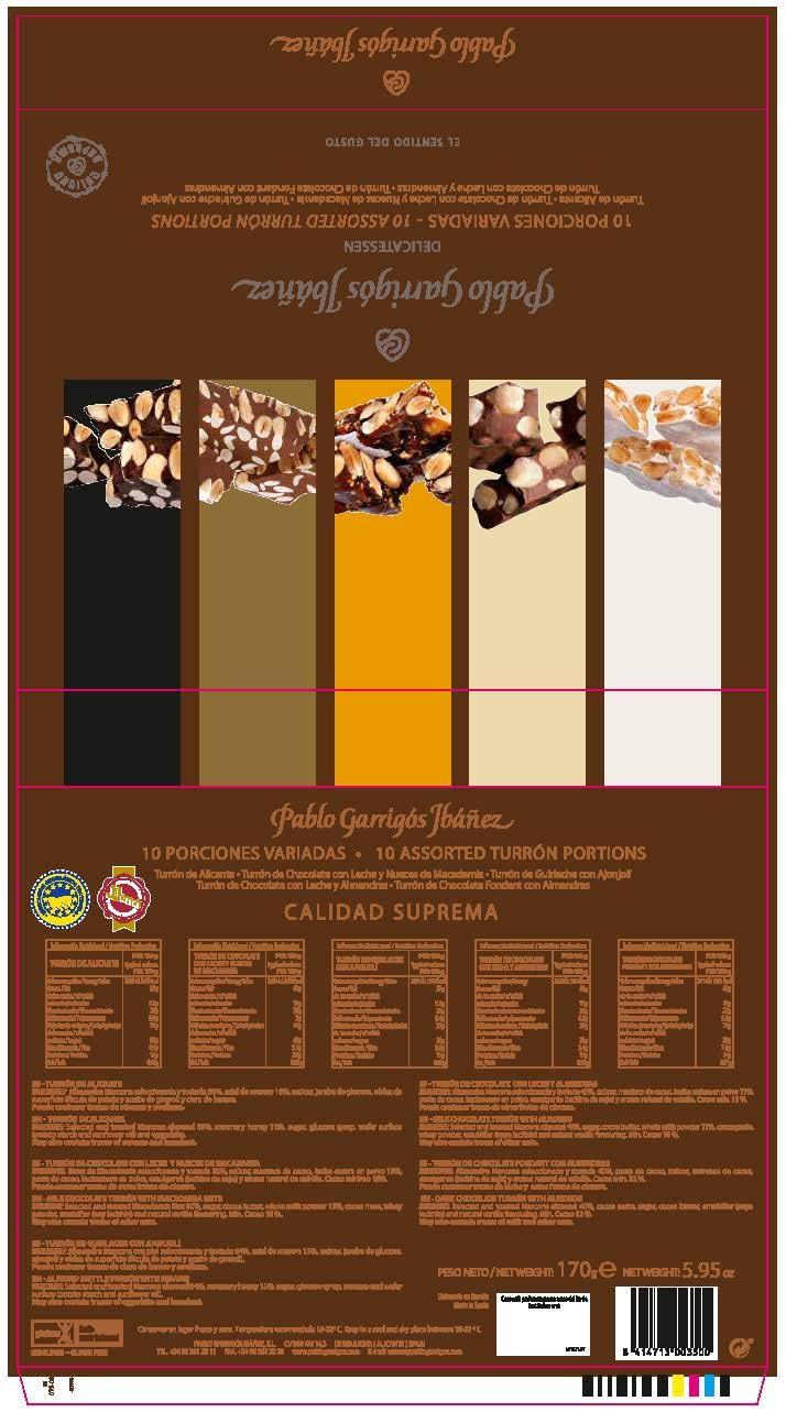 Amazon.com : Pablo Garrigós Ibáñez Delicatessen Assorted Turron (10 Portions) 5.95 oz (170 grams) (Pack of 1) : Grocery & Gourmet Food