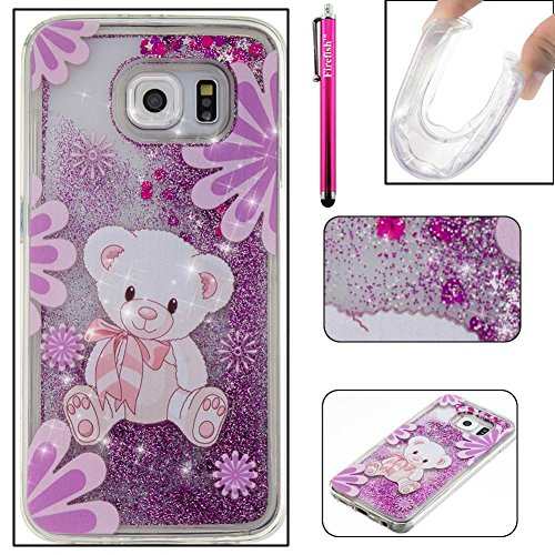 Galaxy S6 Case, Firefish Slim Dynamic Flowing [Anti-Slip] Flexible TPU [Scratch Resistances] Protective Cover for Girls Children Fits for Samsung Galaxy S6 -L-Bear