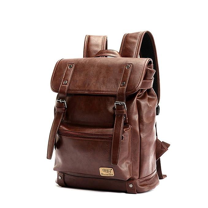 343845869c4a0 YFbear Kunstleder Rucksack Vintage Schulranzen Schultasche Laptop (14