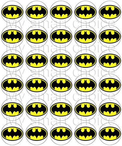 30 x Edible Cupcake Toppers - Batman Logo Themed Collection of Edible Cake Decorations | Uncut Edible Prints on Wafer Sheet