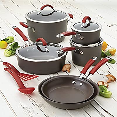 Food Network Cookware Set RACHAEL RAY Premium Nonstick Hard Porcelain Enamel Cookware Oven Safe, PFOA-free,Dishwasher Safe, 12-Piece, Gray, Cranberry Red Handles