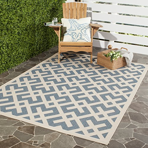(Safavieh Courtyard Collection CY6915-233 Blue and Bone Indoor/ Outdoor Square Area Rug (6'7