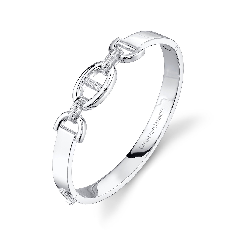 CHARLIZE GADBOIS 925 Sterling Silver Center Buckle Cuff Bangle Bracelet, White Rhodium