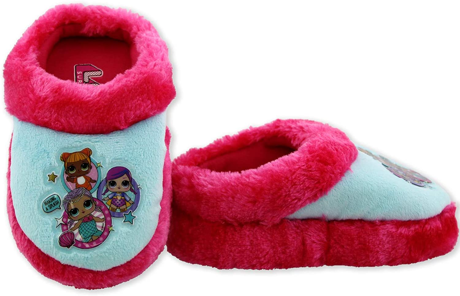 Surprise L.O.L Girls Slip On Plush Scuff Slippers with Faux Fur LOL Surprise