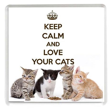 Keep Calm and Love Your Gatos Bebidas posavasos Impreso en una imagen de cuatro gatitos con