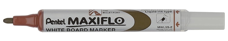 Pentel Maxiflo Green Label marcador para pizarra blanca con punta cónica, color marrón MWL5S-E