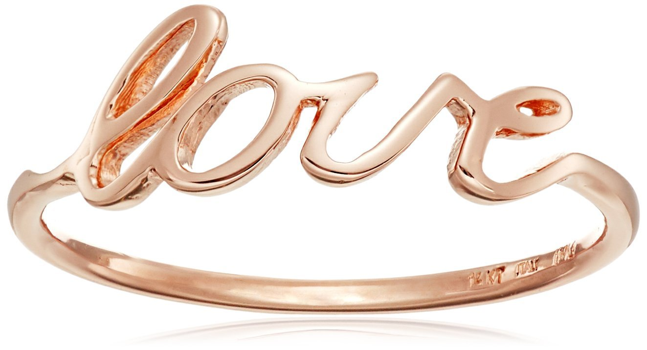 14k Italian Rose Gold ''Love'' Ring, Size 7