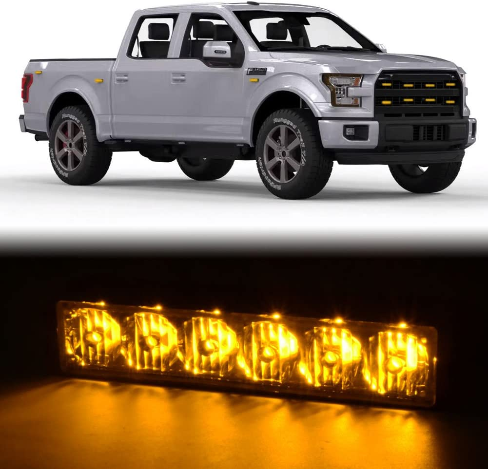 AT-HAIHAN 4 in 1 Amber Surface Mount Grill Light Head Utility Vehicle Construction Vehicle and Tow Truck Van 6W Bright LED Mini Strobe Lightbar for POV