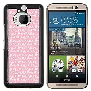 Dragon Case - FOR HTC One M9+ / M9 PLUS - pink Paris love text girls romantic - Caja protectora de pl??stico duro de la cubierta Dise?¡Ào Slim Fit