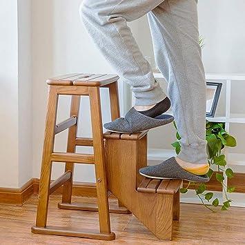PIN Taburete de madera maciza de 3 peldaños, escalera de tres escalones multifunción Escalera de peldaño Escalera plegable de doble uso Escalera de madera para el hogar Bastidor de flores Bastidor de: