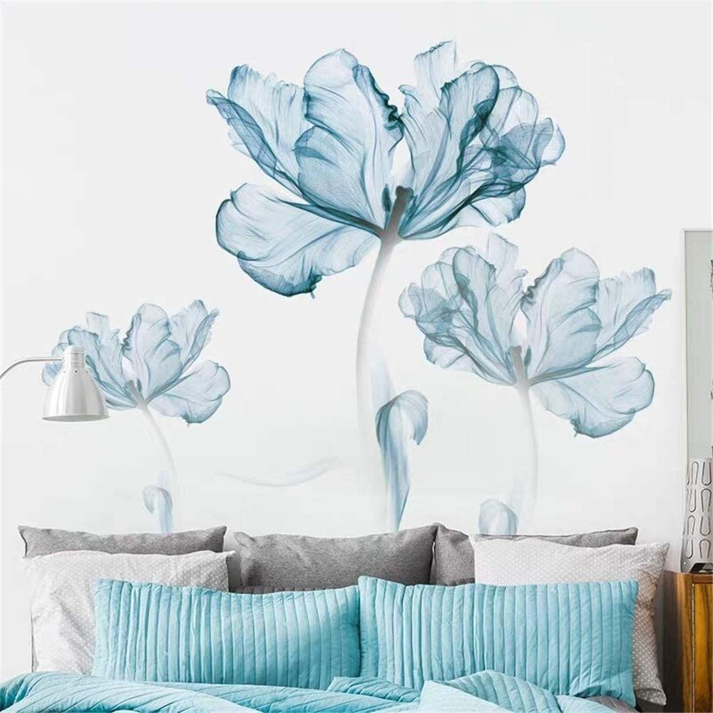 LLYDD Wall Sticker Blue Flower Floral Blossom 3D Peel and Stick Self - Adhesive Wall Art Stickers Decal Decor Paper Murals for Living Room Office Gorgeous Nice Colorful Bouquet Removable DIY …