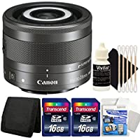 Canon EF-M 28mm f/3.5 Macro IS STM Lens with Two 16GB Memory Cards for Canon EOS M Series Digital Cameras