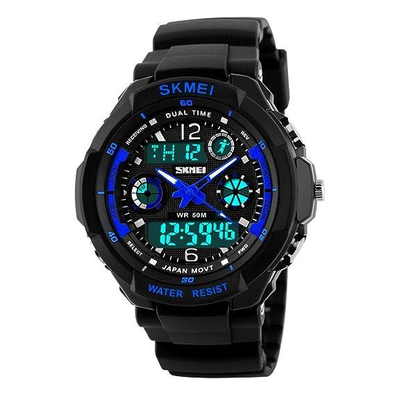 Farsler Reloj digital deportivo para niños, multifunción, digital, 50 m, resistente al agua, electrónico, reloj de cuarzo, LED para niños, ...