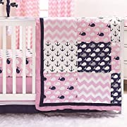 Nautical Whales and Anchors Pink 3 Piece Crib Bedding Set by The Peanut Shell