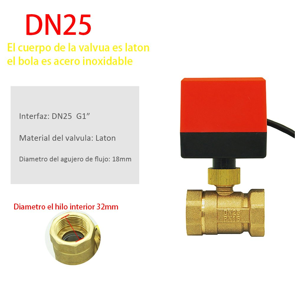 Valvula bola esfera motorizada DN15 DN20 DN25 DN32 DN40 DN50 AC220V AC24V DC12V 2 vias laton calefaccion suelo climatizacion: Amazon.es: Bricolaje y ...