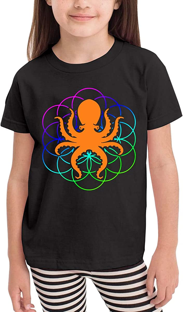 Little Girls Psychedelic Sacred Geometry Octopus Soft Short Sleeve Tee Tops Size 2-6