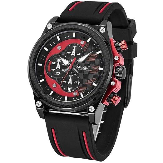 Megir - Reloj Militar para Hombre, cronógrafo, Correa de Silicona Negra y roja, Esfera Grande, Resistente al Agua: Amazon.es: Relojes