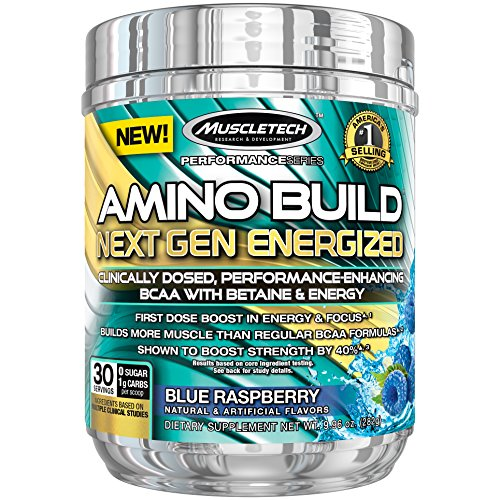 MuscleTech Amino Build Next Gen Energy Supplement, Formulated with BCAA Amino Acids, Betaine, Vitamin B12 & B6 for Muscle Strength & Endurance, Blue Raspberry, 30 Servings (287g)