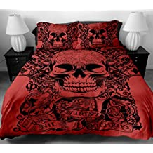 Anole 3 Pcs Soft Luxury Youth 100% Polyester Shell Fully Reversible 3-Piece Modern Flower Skull Duvet Cover Set Queen Size Red (Queen 3pcs)