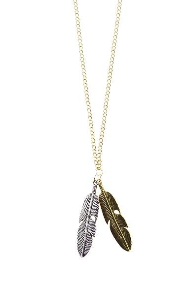 0ebf36ca37fa Cara Mia Sweet Deluxe Lange Halskette für Damen Anhänger mit Federn ...