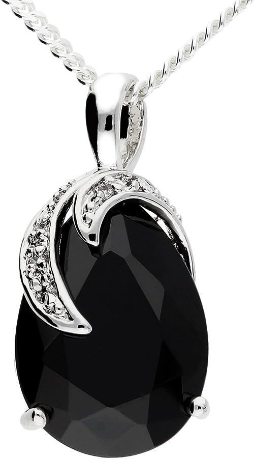 MYA art Damen Kette Halskette 925 Silber Tropfen Anhänger mit Zirkonia am Rand Schwarz Onyx Weiß MYASIKET 48
