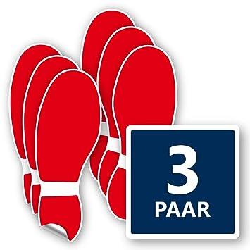 3x Paar Bodenmarkierung Fuß Aufkleber In Rot Kratzfest Selbstklebend Rutschfest Bodenaufkleber Fußspur Je 120x320 Mm