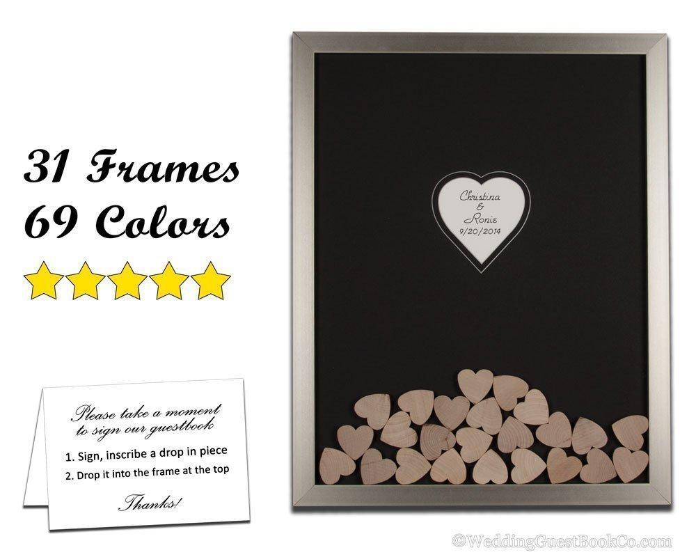 Amazon.com: Wood Hearts Wedding Guest Book Alternative Drop in the ...