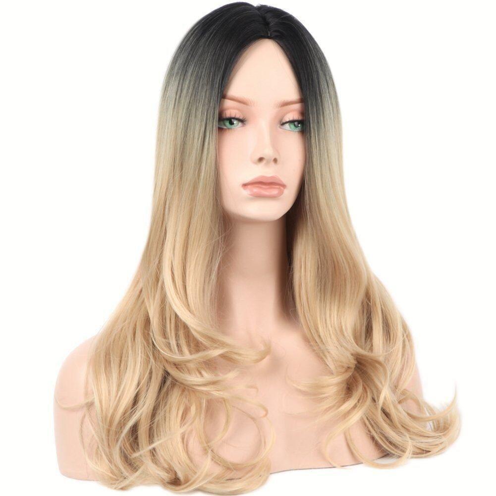 GAIHU Ombre de onda larga peluca rubia raíces oscuras sin pegar 2 tonos de cabello sintético peluca completa para la mujer parte Cosplay: Amazon.es: ...