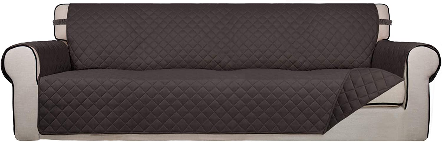 PureFit Reversible Quilted 4 Seater Sofa Cover, Water Resistant Furniture Protector, Washable Couch Cover with Non Slip Foam and Elastic Straps for Kids, Dogs, Pets (XX Large, Chocolate/Chocolate)
