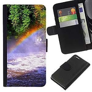 EJOY---La carpeta del tirón la caja de cuero de alta calidad de la PU Caso protector / Apple Iphone 5C / --Naturaleza Rainbow Falls