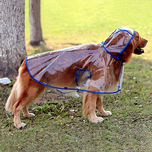Glanzzeit Dog See-through Raincoat Cool Rain Jackets Adjustable Poncho for Medium Large Dogs 2XL to 6XL (6XL, Blue) (Gear Raincoat Rain Dog)