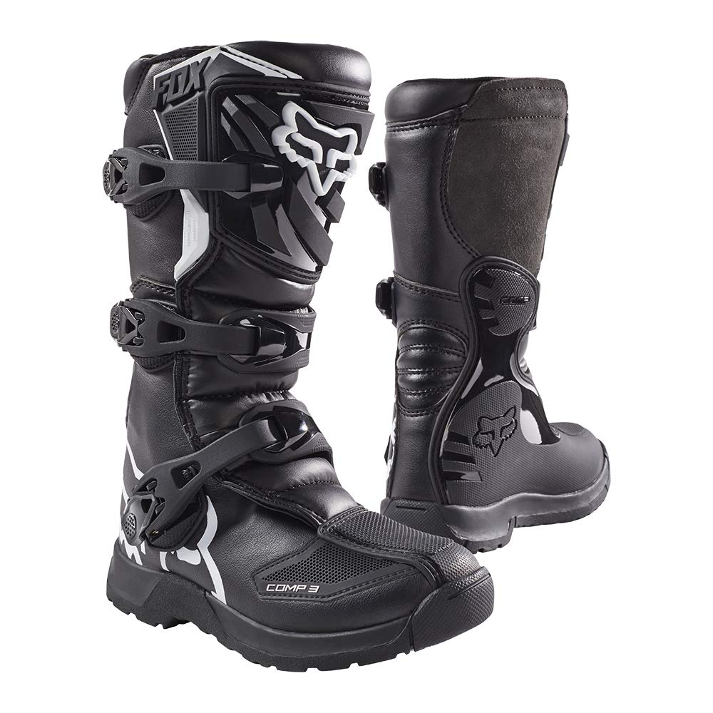 Fox Racing 2019 Youth Comp 3 Boots (8) (Black) by Fox Racing