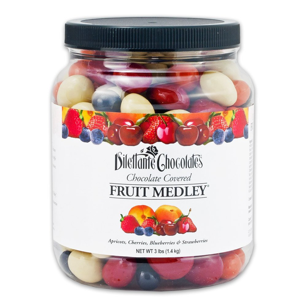 Chocolate Covered Fruit Medley Dragées - Gourmet Chocolate Dried Fruit Candy, 3lb Jar - by Dilettante