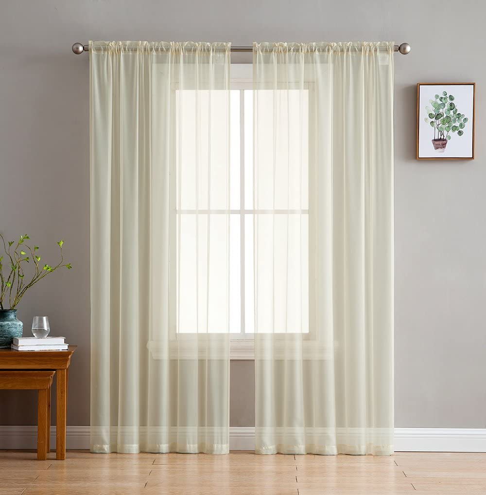 HLC.ME Beige Sheer Voile Window Treatment Rod Pocket Curtain Panels for Bedroom and Living Room (54 x 84 inches Long, Set of 2)