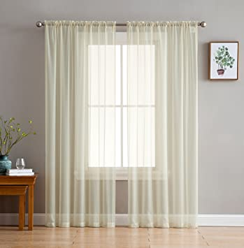 Hlc Me Beige Sheer Voile Window Treatment Rod Pocket Curtain Panels For Kitchen Bedroom And Living Room 54 X 95 Inches Long Set Of 2
