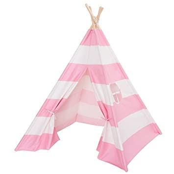 Kids Play Teepee Tent Pink and White Stripes Cotton Canvas Wooden Poles Children Play House Tent  sc 1 st  Amazon.com & Amazon.com: Kids Play Teepee Tent Pink and White Stripes Cotton ...