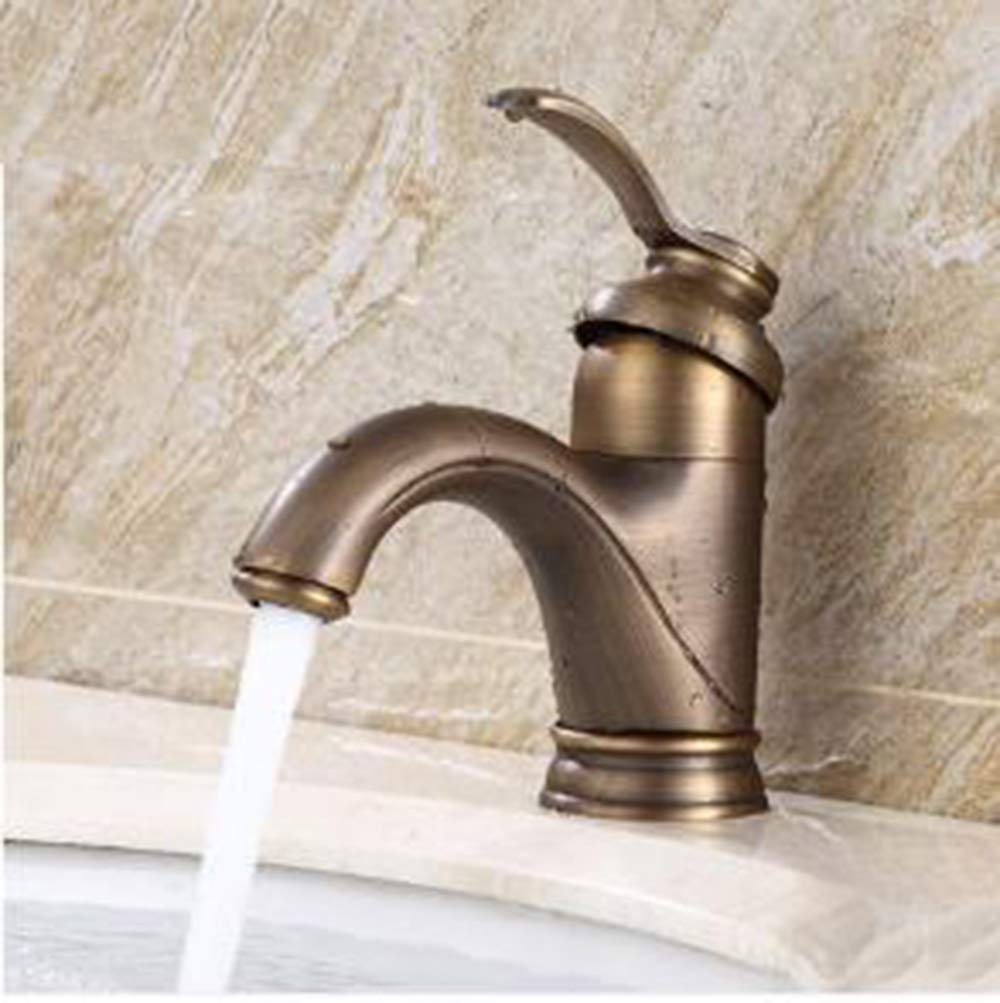 1 Brass Vintage Faucet Bronze Faucet with Low arc, Easy Inssizetion Long-Term Durability Single Lever Pull Kitchen Bathroom Bathroom-1
