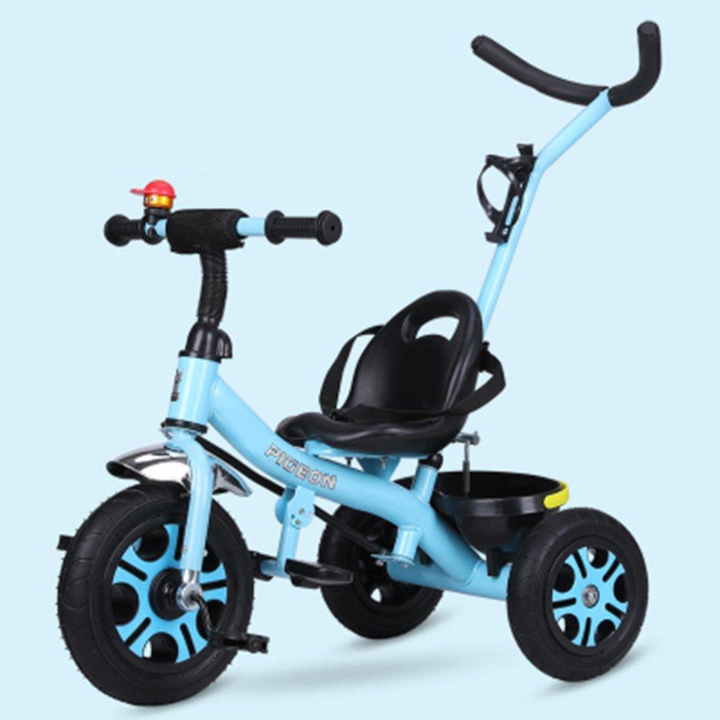 HAIZHEN マウンテンバイク 子供の三輪車1-6歳の軽量自転車非膨張式防爆ショックを吸収する泡ホイールバスケット付きベビーベビーカー 新生児 B07DL911V2 青 青
