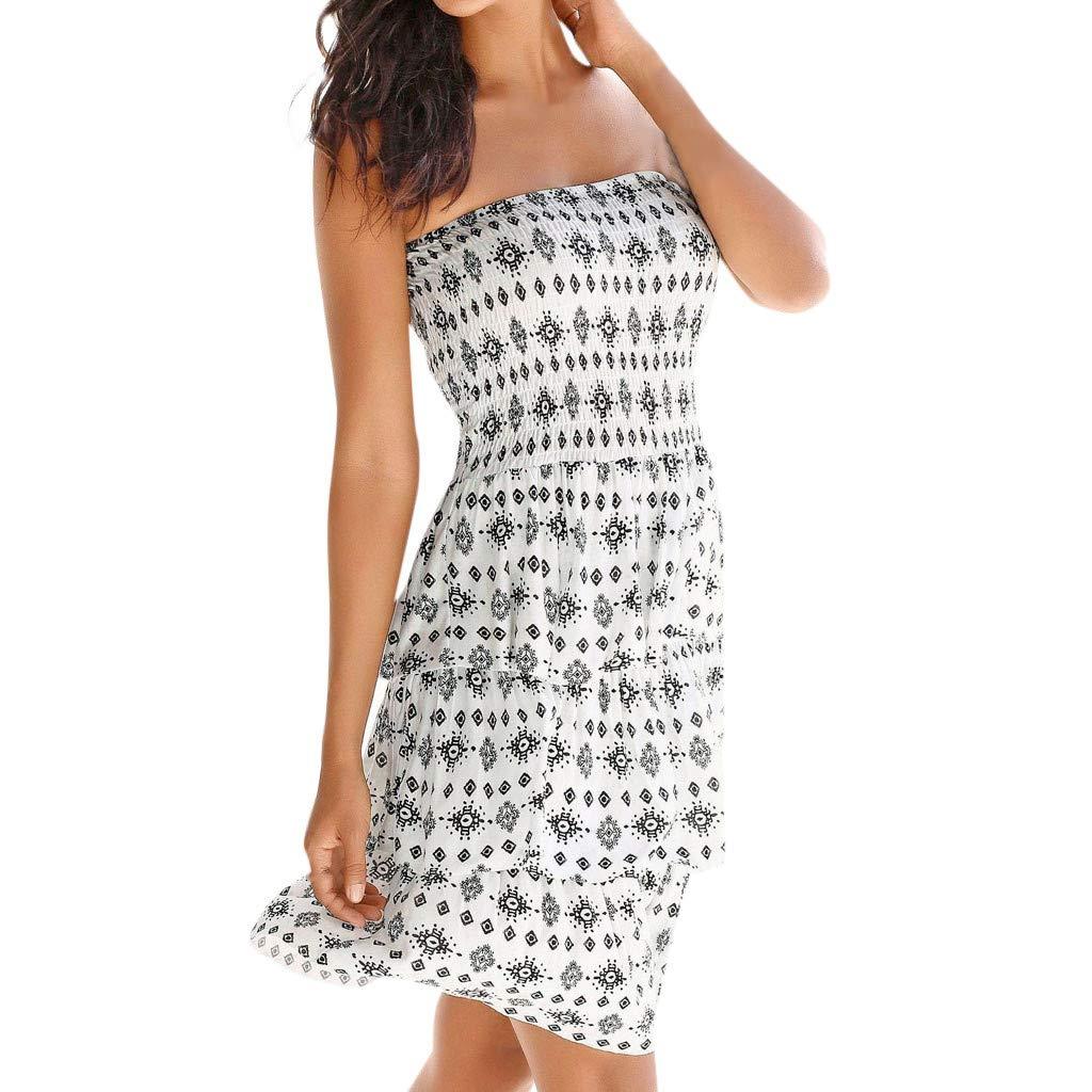 Holywin Damen Kleid Neckholder Boho Print Sleeveless beiläufige Mini Beachwear Kleid Sommerkleid