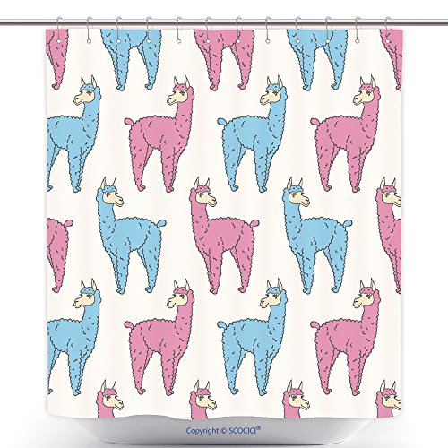 Mildew Resistant Shower Curtains Vector Pattern Seamless Wallpaper With The Image Of A Fluffy Llama 287130767 Polyester Bathroom Shower Curtain Set With Hooks