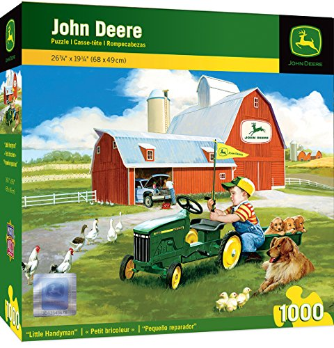 MasterPieces John Deere Little Handyman - Kid with Play Tractor 1000 Piece Jigsaw Puzzle by Donald Zoland