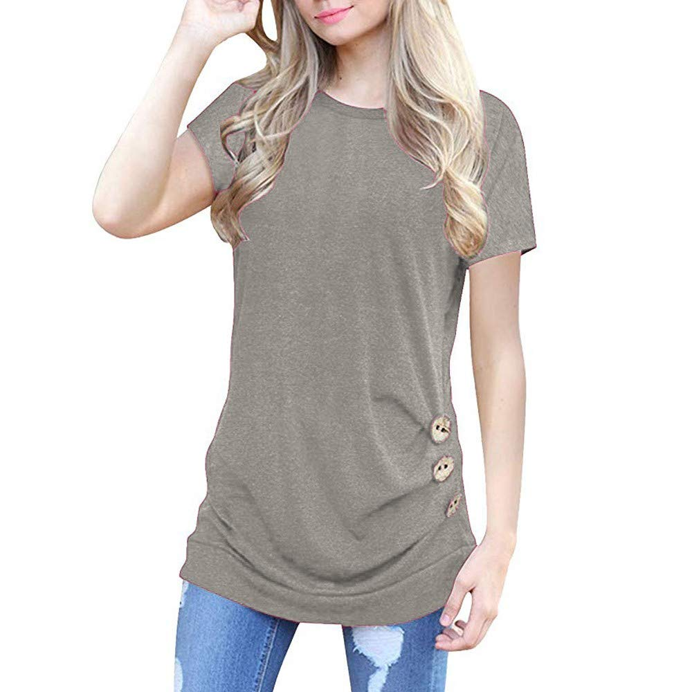 Women Tunic Short Sleeve Tops,Funic Loose Button Trim Blouse Solid Color Round Neck T-Shirt