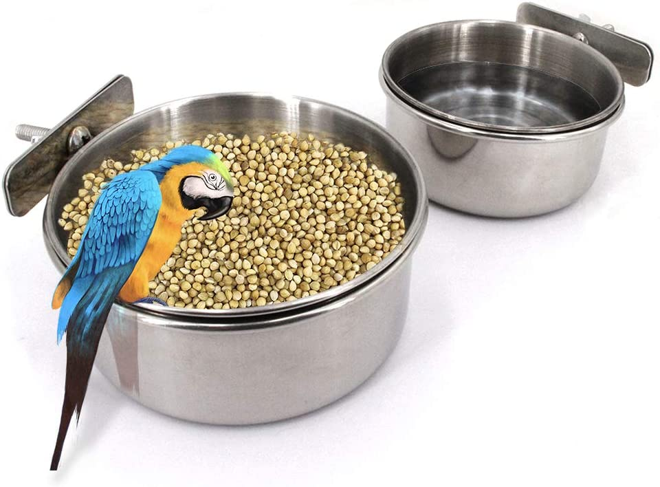 Bird Feeding Dish Cups,Parrot Feeding Bowl Clamp Holder,10-16oz Stainless Steel Coop Cups,Bird Cage Food & Water Bowl for Small Animal Parakeet Conure Cockatiels Budgie Chinchilla Lovebird 2-Pack