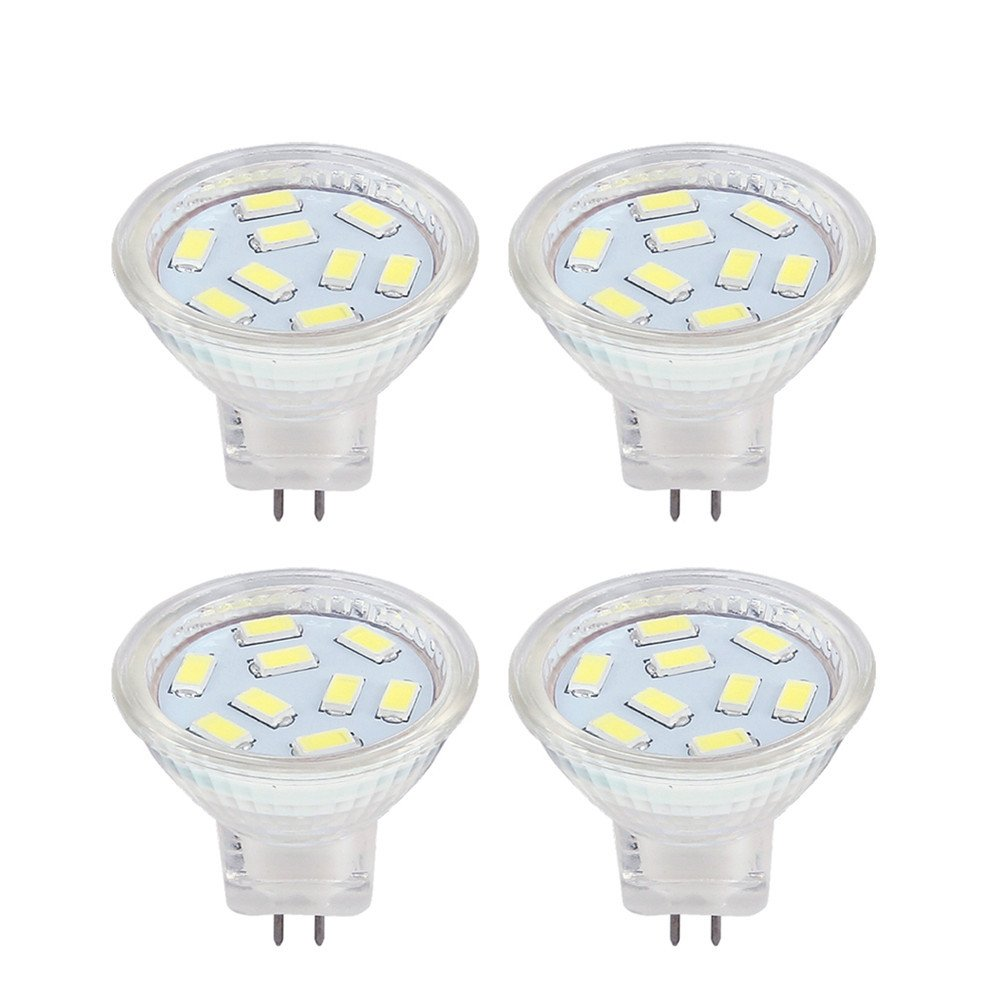 LED MR11 Light Bulbs 2W, 12V 20W Halogen Replacement, GU4 Bi-Pin Base, Daylight White 6000K (Pack of 4)