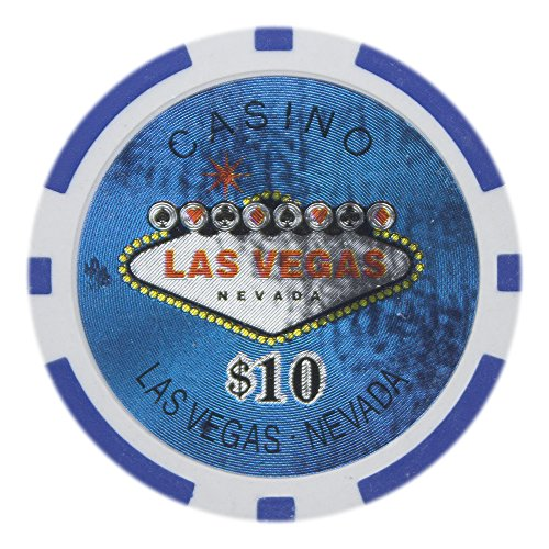 Brybelly Las Vegas Casino Poker Chip Heavyweight 14-gram Clay Composite - Pack of 50 ($10 Blue)