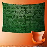 Psychedelic Tapestry Art Backdrop with Circuit Board Diagram Hardware Wire Illustration Emerald Fern Green Tapestries Wall Hanging Tapestry for Bedroom Living Room Dorm