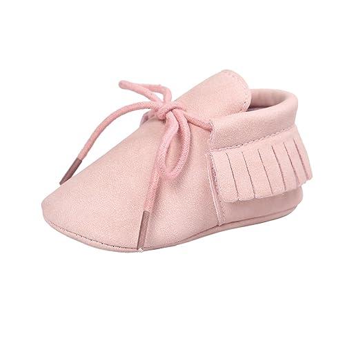 ESTAMICO Zapatos de cordones con borlas de suela suave para bebé niña mocasines bebé niño Rosado 12-18 Meses: Amazon.es: Zapatos y complementos