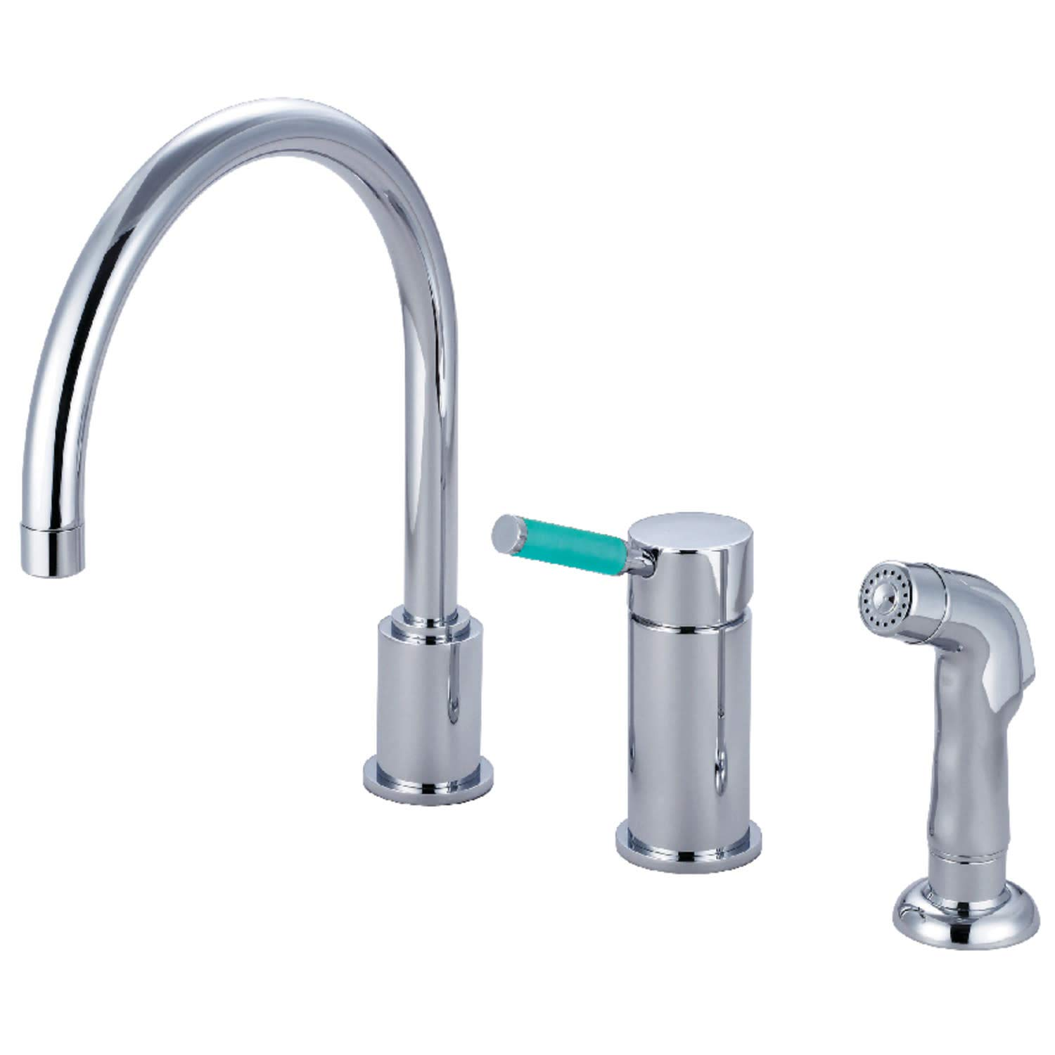 Kingston Brass GS8011DGLSP Green Eden Single-Handle Kitchen Faucet 8-1//2 in Spout Reach Polished Chrome
