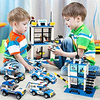 900 Pieces City Police, City Police Station Building Kit, City Police Building Bricks Toy with Action Cop Car, Helicopter & Patrol Vehicles, Truck Toy for Kids Boys Girls 6-12